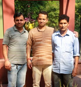 The hospitable kitchen team at Rainforest House (From the left) Raghuveer Singh Rawat, Chef, Manish Boat-Manager, Vikram Singh Negi, Cook