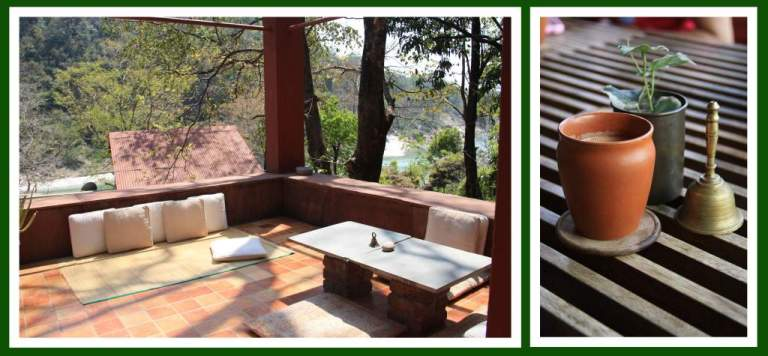 The beautiful sit-out with a view of the Ganges nearby